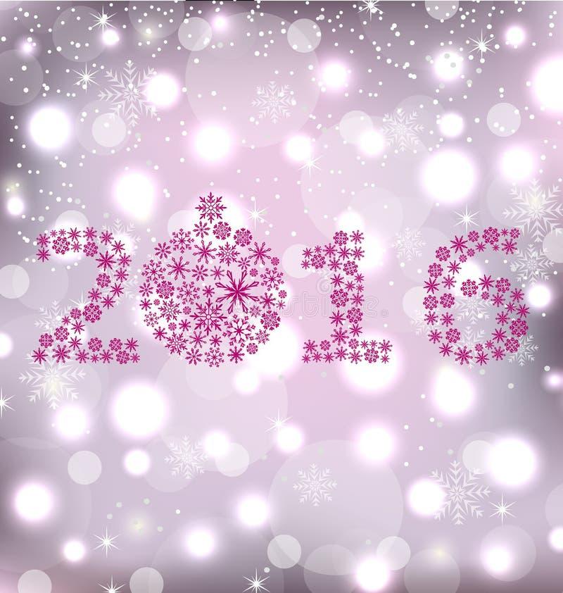 Schitter Nieuwjaarskaart met Sneeuwvlokken royalty-vrije illustratie