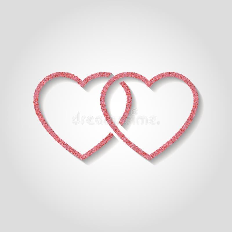 Schitter pictogram dubbel roze hartembleem Het symbool van de liefde gebruik in decorum stock illustratie