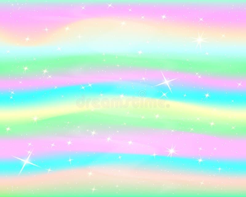 Schitter Regenboogachtergrond De hemel in pastelkleur Helder meerminpatroon Vector royalty-vrije illustratie