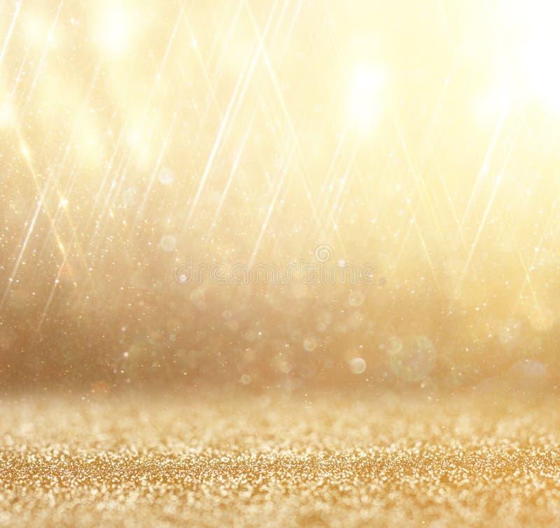 Schitter uitstekende lichtenachtergrond Abstracte gouden achtergrond defocused royalty-vrije stock foto