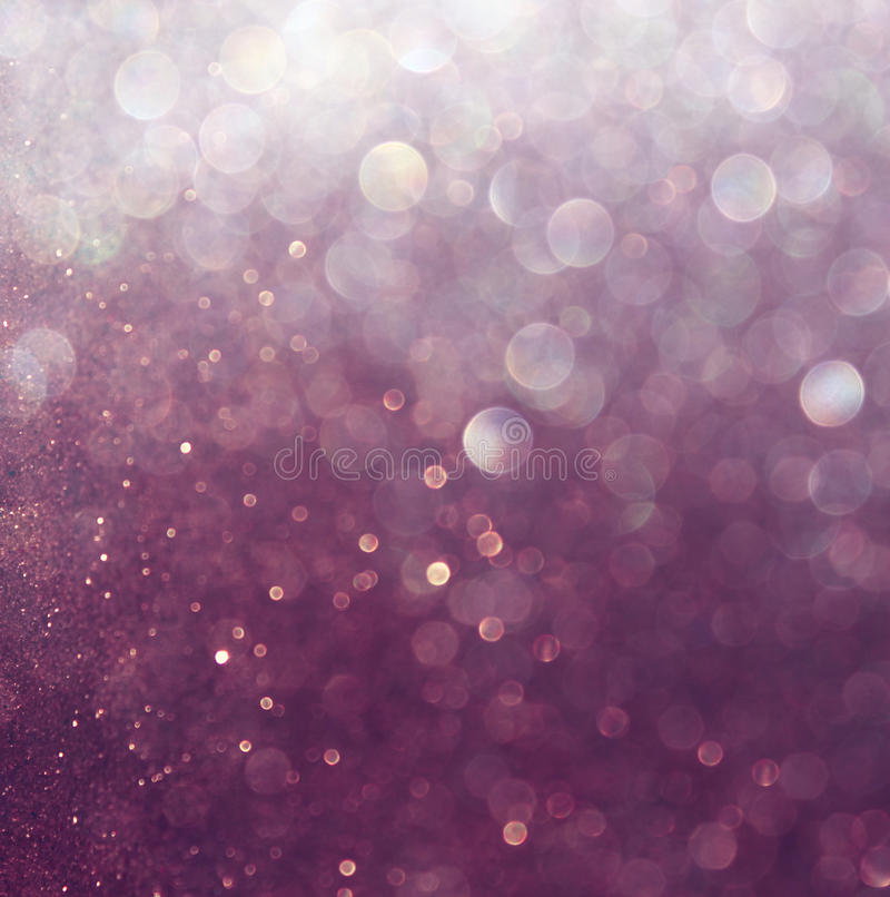 Schitter uitstekende lichtenachtergrond Wit en purple defocused royalty-vrije stock afbeeldingen