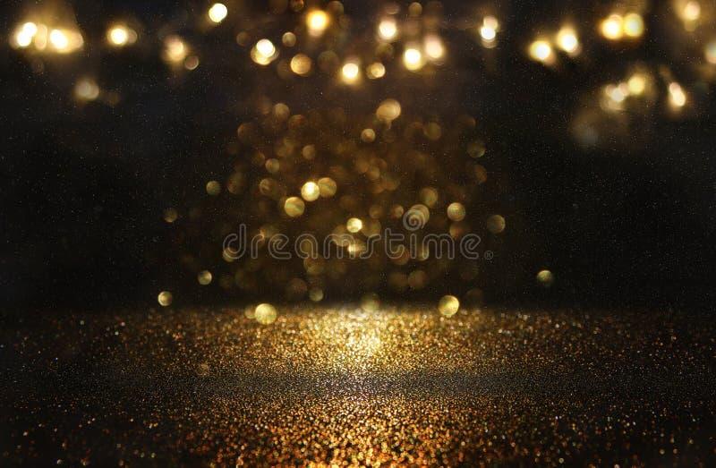 Schitter uitstekende lichtenachtergrond Zwarte en Goud DE-geconcentreerd royalty-vrije illustratie