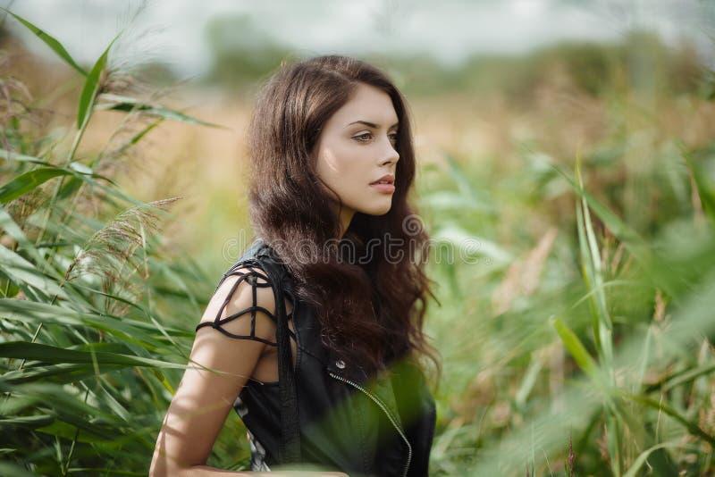 Schitterend brunette in openlucht royalty-vrije stock afbeeldingen