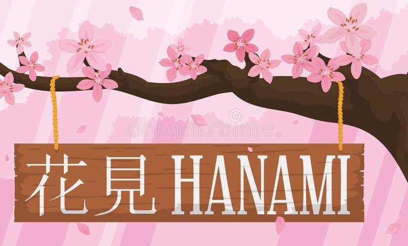 Schitterend Cherry Tree met Bloemen en Houten Teken voor Hanami, Vectorillustratie stock illustratie