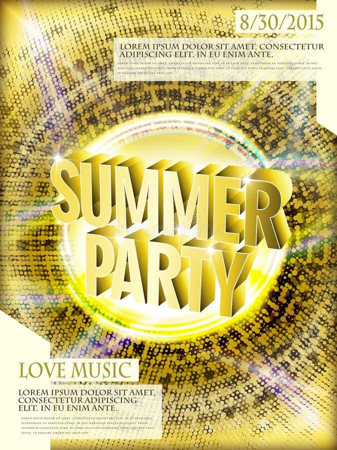 Schitterend de afficheontwerp van de de zomerpartij vector illustratie