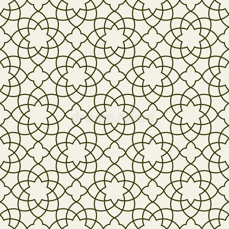 Schitterend Naadloos Arabisch Patroonontwerp Zwart-wit Behang of Achtergrond vector illustratie