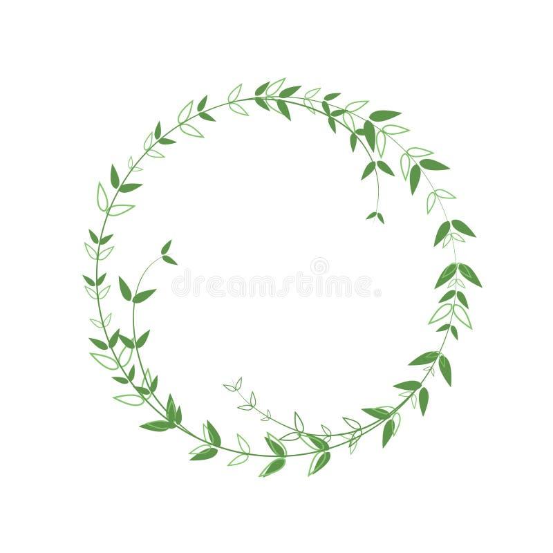 Schitterend rond frame met groen loof Nauwkeurige grens in minimalistische stijl Vectorlogo-element Warm met contourbladeren en stock illustratie