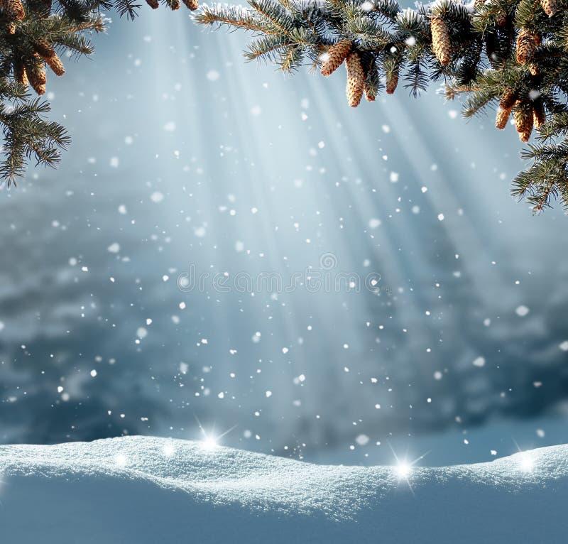 Schitterend winterlandschap met sneeuwbedekte bomen Kerstachtergrond royalty-vrije stock afbeeldingen