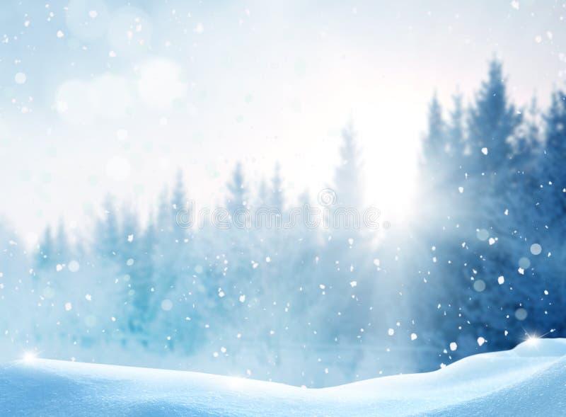 Schitterend winterlandschap Vrolijk Kerstfeest en vrolijke Nieuwjaarsgroet achtergrond met exemplaarruimte stock fotografie