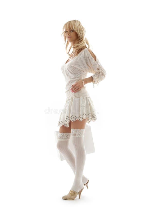 Schitterende blond met het winkelen   stock afbeelding