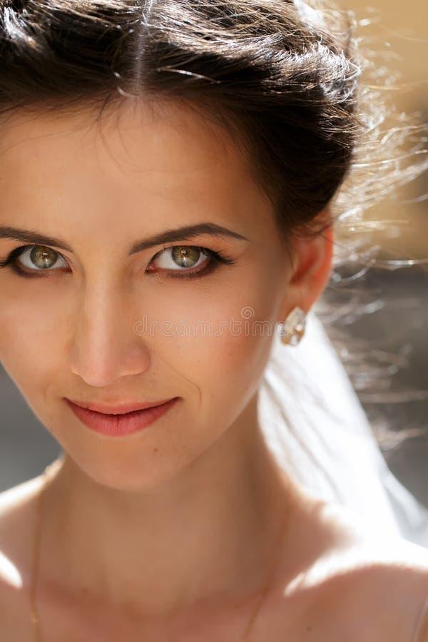 Schitterende emotionele het glimlachen closeu van donkerbruine bruid mooie ogen stock afbeeldingen