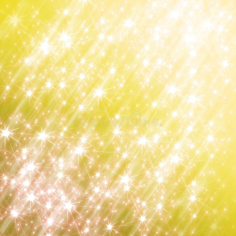 Schitterende gele achtergrond met sterren vector illustratie