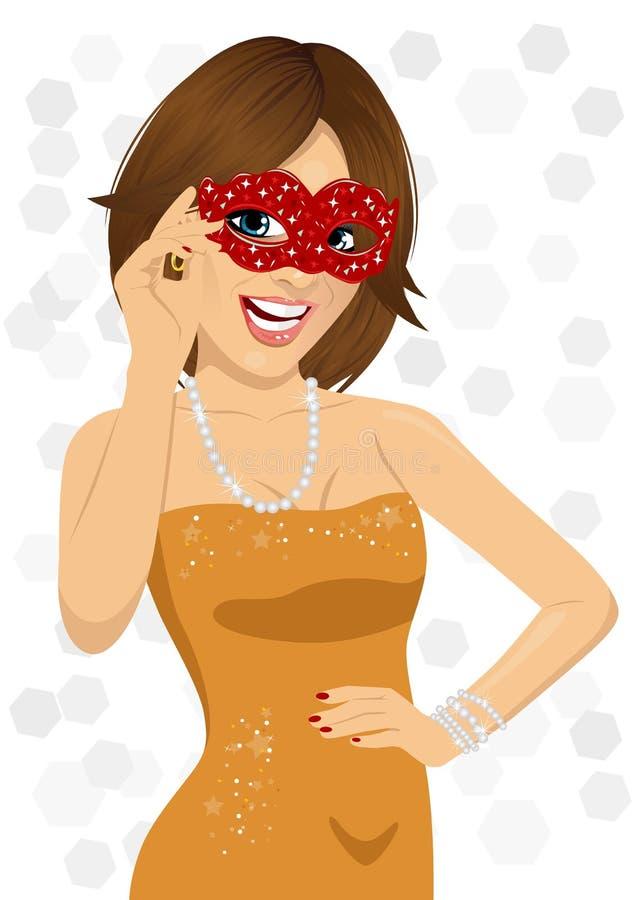 Schitterende glimlachende vrouw die Carnaval-masker dragen royalty-vrije illustratie