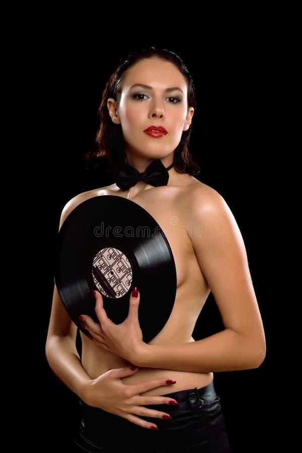 Schitterende jonge vrouw topless met vinyl royalty-vrije stock fotografie