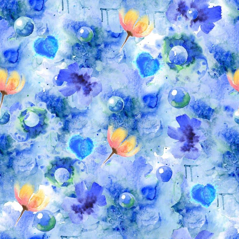 Schitterende naadloze textuur met gele rode tulpen en lichtblauwe cichoreibloemen, evenals blauw-groene bubbels op een waterkleur stock foto's