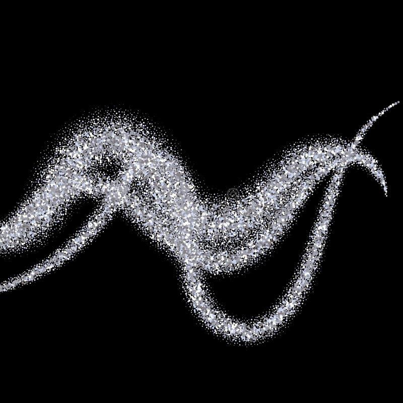 Schitterende stroom van fonkelingen De abstracte vectorillustratie van glanzend schittert stroom stock illustratie