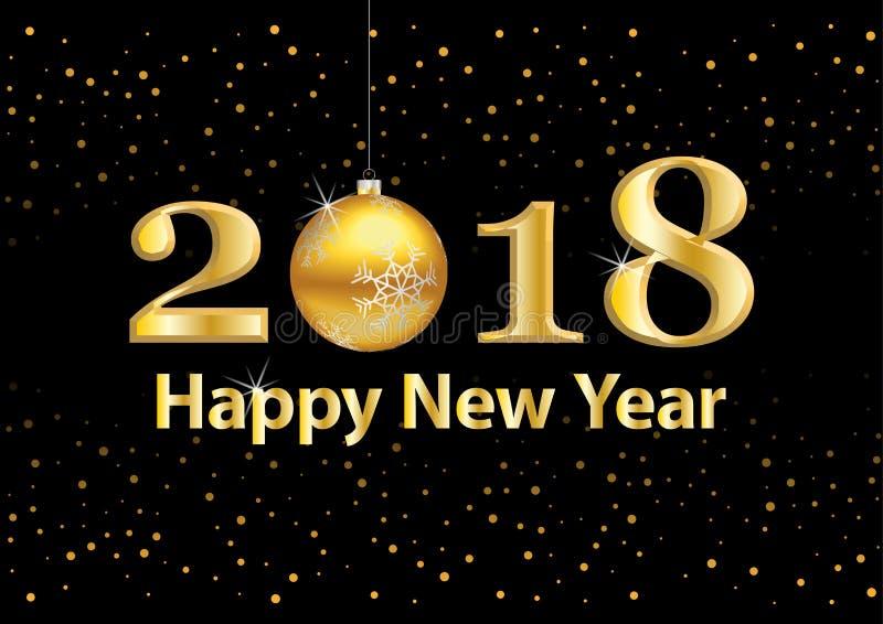 2018 schittert de Gelukkige Nieuwjaar vectorachtergrond met goud aantallen Feestelijke retro affiche met het flikkeren textuur vector illustratie
