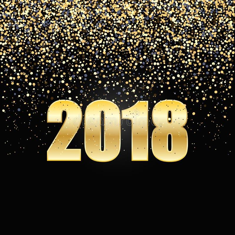 2018 schittert de nieuwjaar Zwarte achtergrond met goud confettien stock illustratie