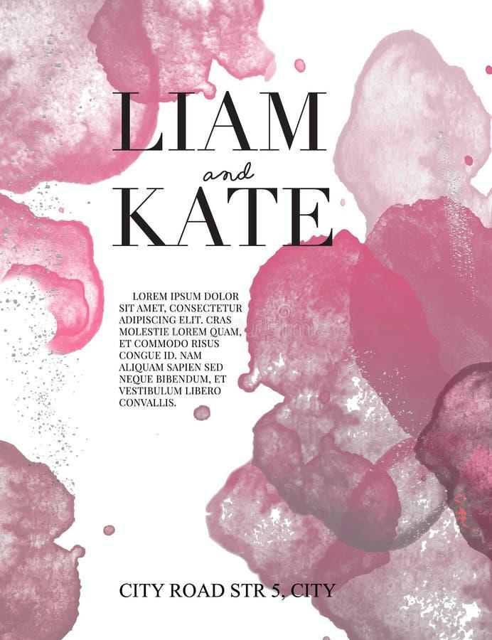 Schittert de de uitnodigings abstracte achtergrond van het waterverfhuwelijk, hand getrokken watercolour stoffige roze en zilvere stock illustratie