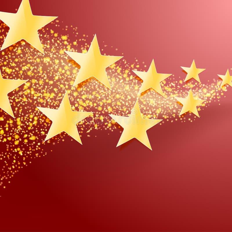 Schittert de vierings abstracte achtergrond met gouden sterren en stock illustratie