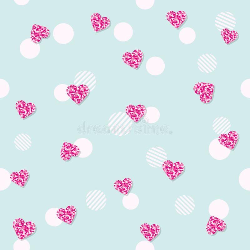 Schittert het Girly naadloze patroon met confettienharten op pastelkleurblauw Voor verjaardag, manier en huwelijksontwerp Vector  stock illustratie
