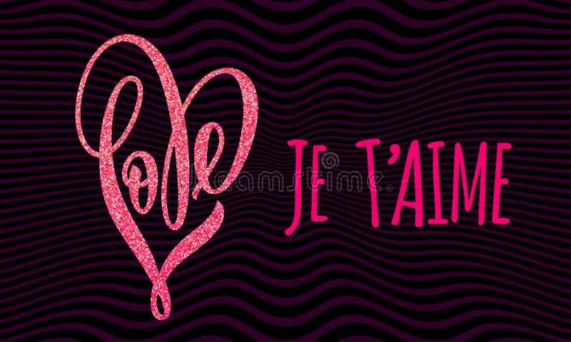 Schittert het gouden de liefdehart van Valentine patroonkaart royalty-vrije illustratie