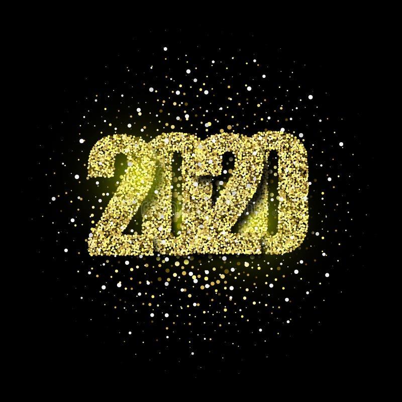 2020 schittert typografieontwerp Gouden het fonkelen Aantallenontwerp van groetkaart van Gelukkig nieuw jaarontwerp Het gouden Gl vector illustratie