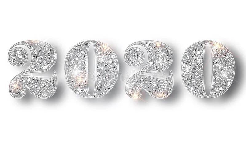 2020 schittert typografieontwerpsjabloon Zilveren het fonkelen Aantallenontwerp van groetkaart van Gelukkig nieuw jaarontwerp stock foto