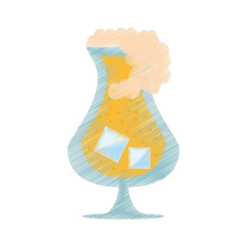 schiuma di vetro del ghiaccio del liquore della bevanda della bevanda del disegno illustrazione vettoriale