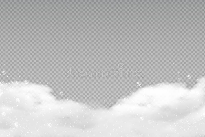 Schiuma realistica del bagno Bolle trasparenti dello sciampo, struttura insaponata della lavanderia, doccia che rade la schiuma d illustrazione vettoriale
