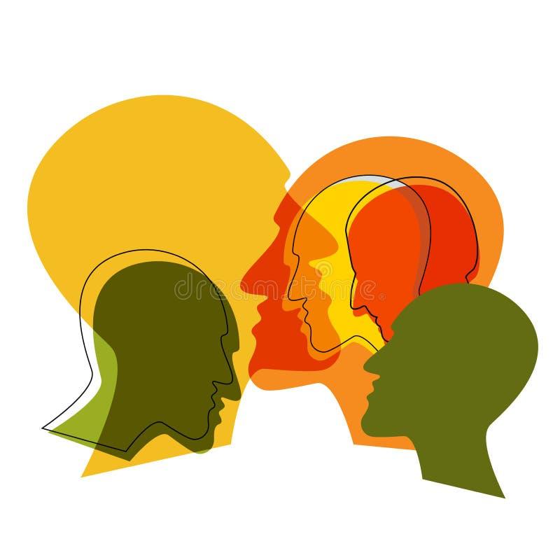 Schizofreni pojęcie, symbol depresion, demencja ilustracji