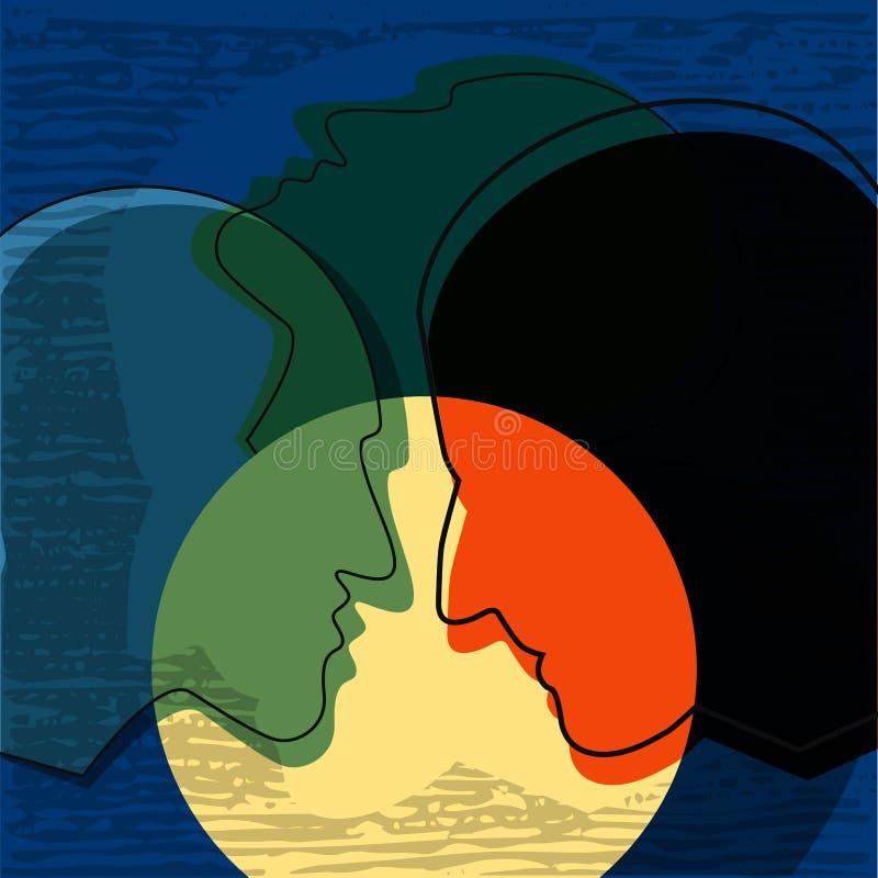 Schizofrenibegrepp, symbol av depresionen, demens stock illustrationer