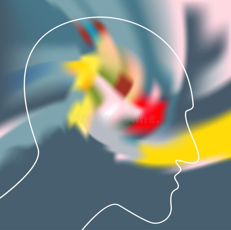 Schizofrenibegrepp, symbol av depresionen, demens royaltyfri illustrationer
