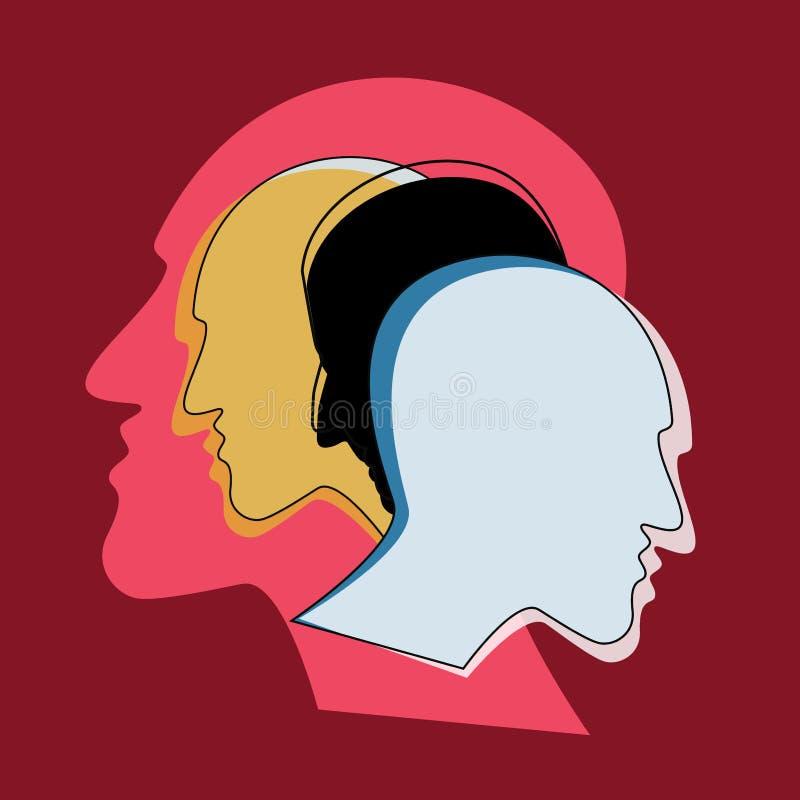 Schizofrenibegrepp, symbol av depresionen, demens vektor illustrationer