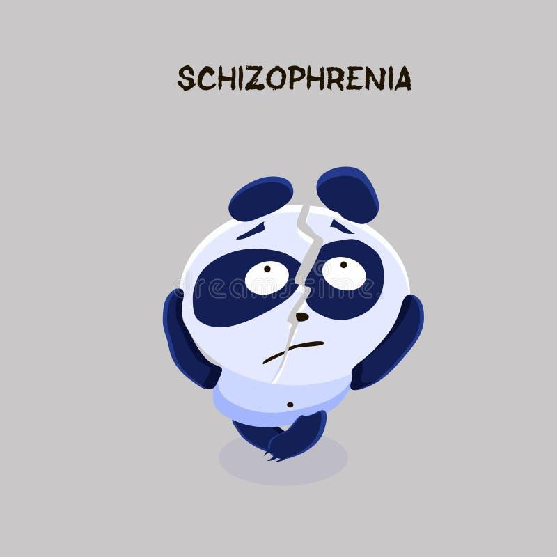 schizofrenie De panda met gespleten persoonlijkheid lijdt aan schizop stock illustratie