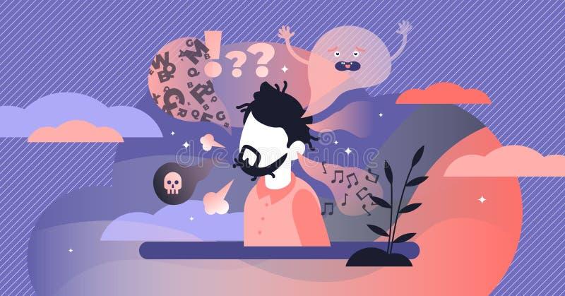 Schizofrenie vectorillustratie Het vlakke uiterst kleine concept van de geestelijke wanordepersoon vector illustratie