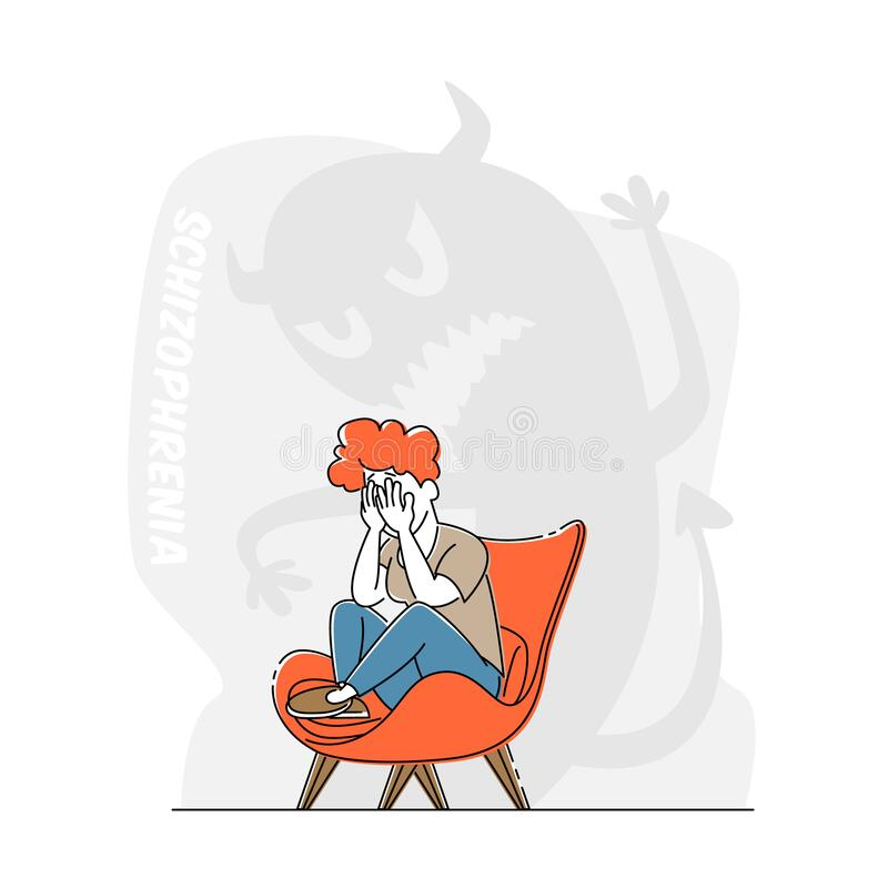 Free Schizophrenia Mental Disorder, Dissociative Identity. Female Character Crying Scare Of Creepy Monster Beside, Illness Stock Image - 191865841