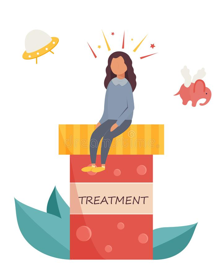 Schizophrenia treatment. Girl having hallucinations. Schizophrenia concept poster. Girl sitting on the medicine container and having hallucinations. Disease stock illustration