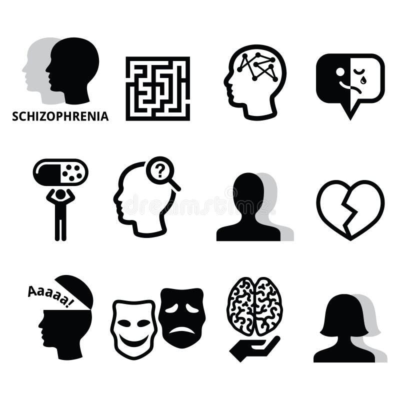 Schizophrenie, psychische Gesundheit, Psychologieikonen eingestellt stock abbildung