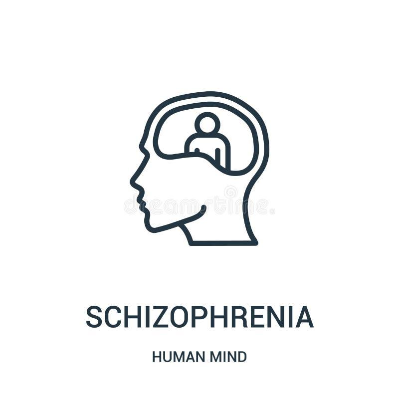 Schizophrenieikonenvektor von der Menschenverstandsammlung Dünne Linie Schizophrenieentwurfsikonen-Vektorillustration Lineares Sy vektor abbildung