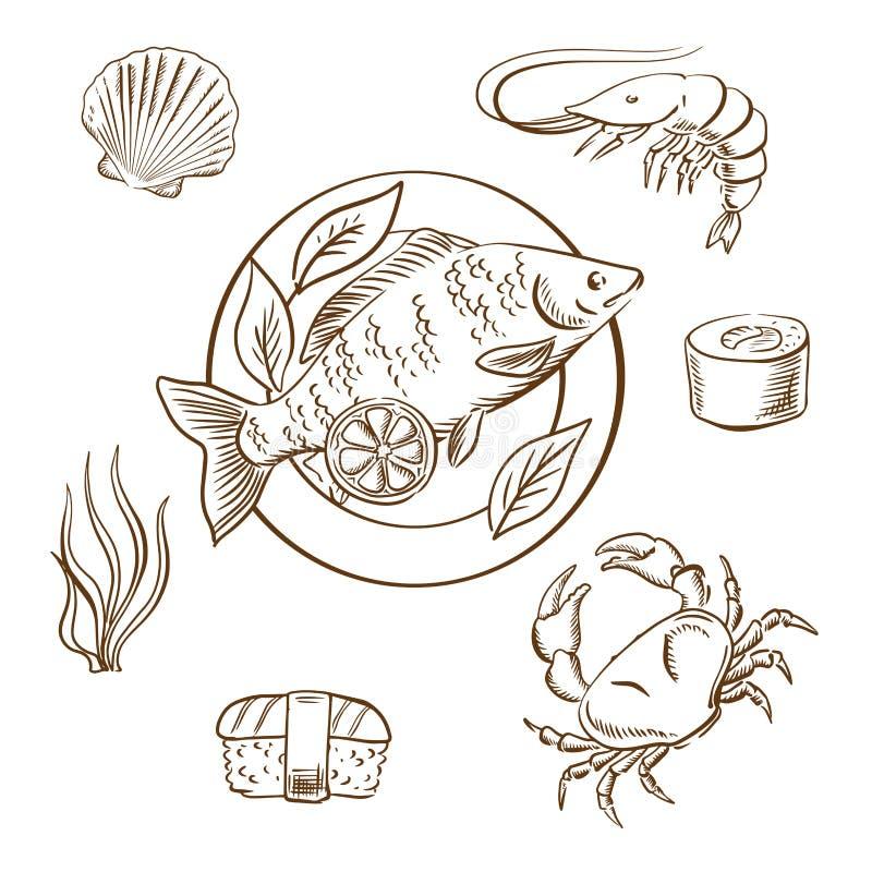 Schizzi dei frutti di mare con il pesce, i sushi, il granchio ed il gamberetto illustrazione di stock