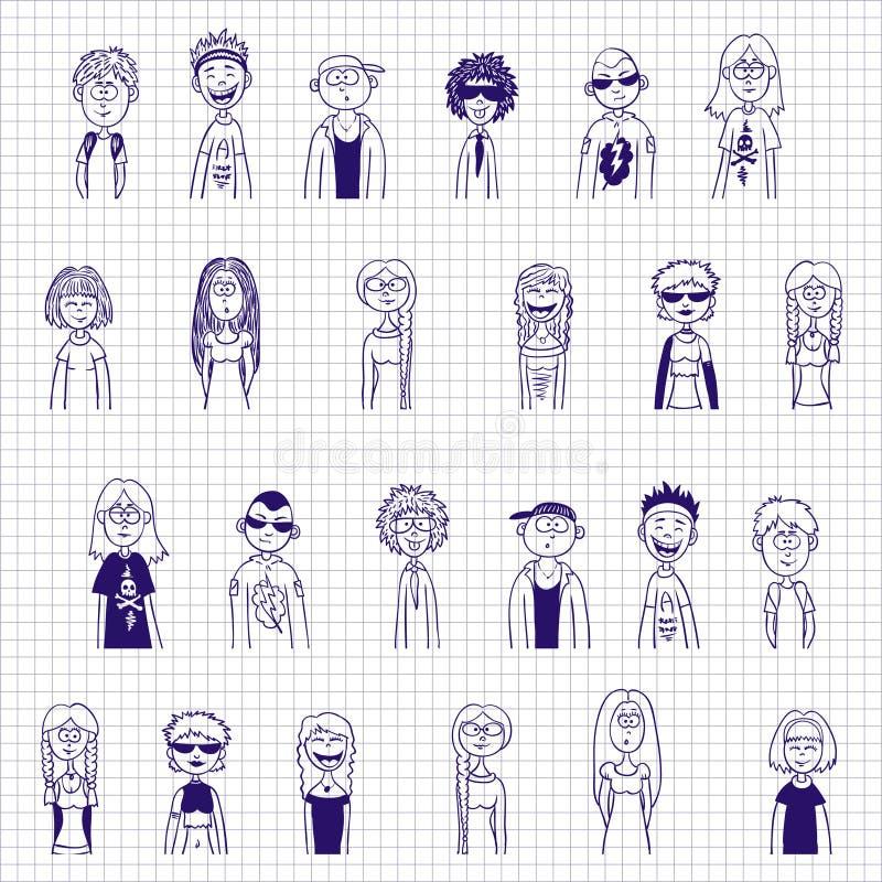 Schizzi dell'inchiostro blu dei ragazzi e delle ragazze - rinchiuda la raccolta tirata illustrazione di stock