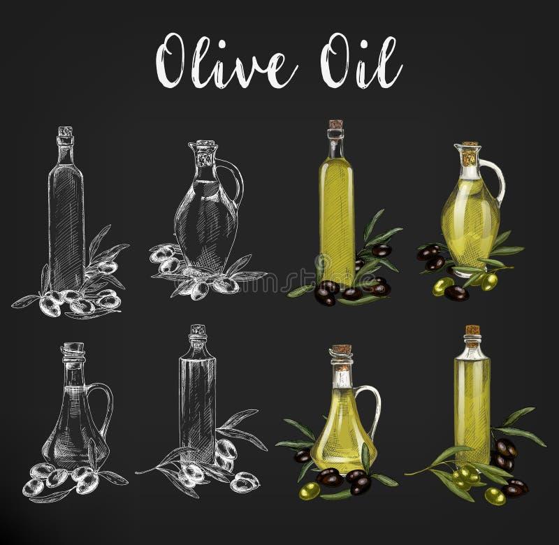 Schizzi delle bottiglie di olio d'oliva della cristalleria royalty illustrazione gratis