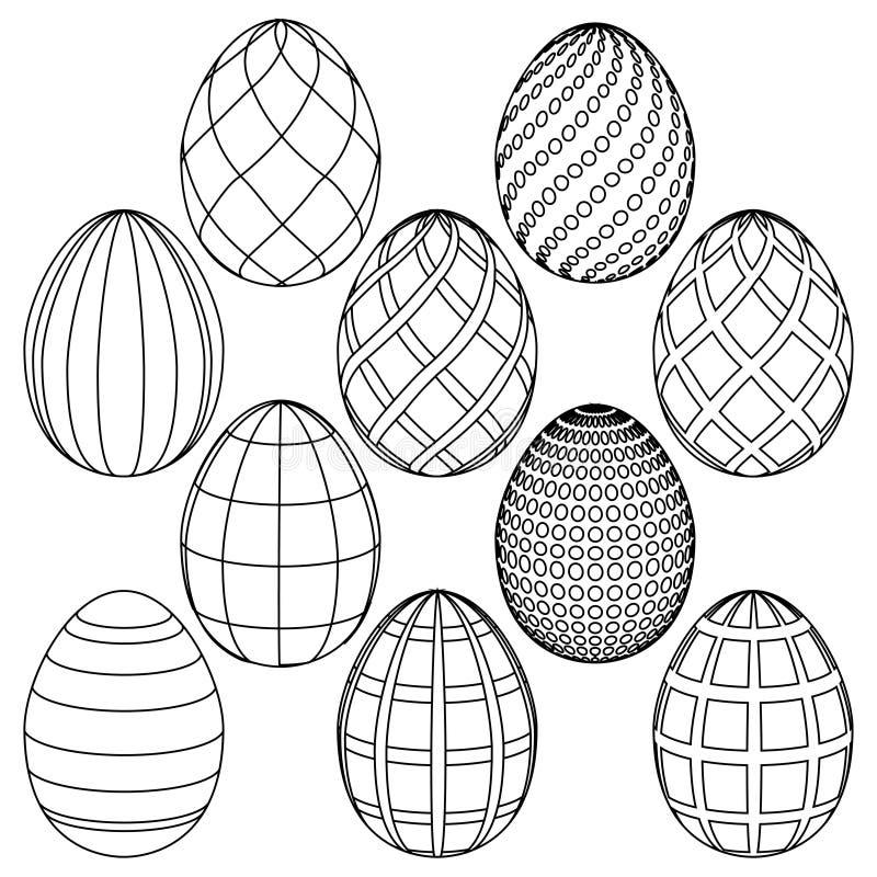 Schizzi delle uova di Pasqua per colorare Illustrazione di vettore illustrazione di stock