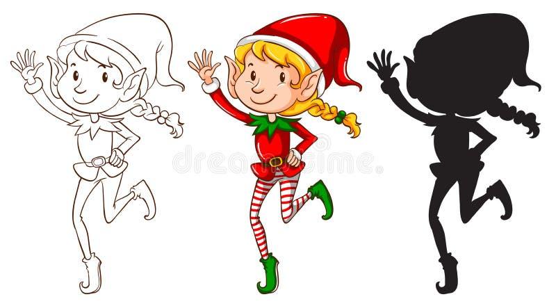 Schizzi di un elfo in tre colori illustrazione vettoriale