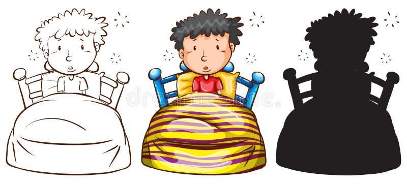Schizzi di un uomo a letto illustrazione vettoriale