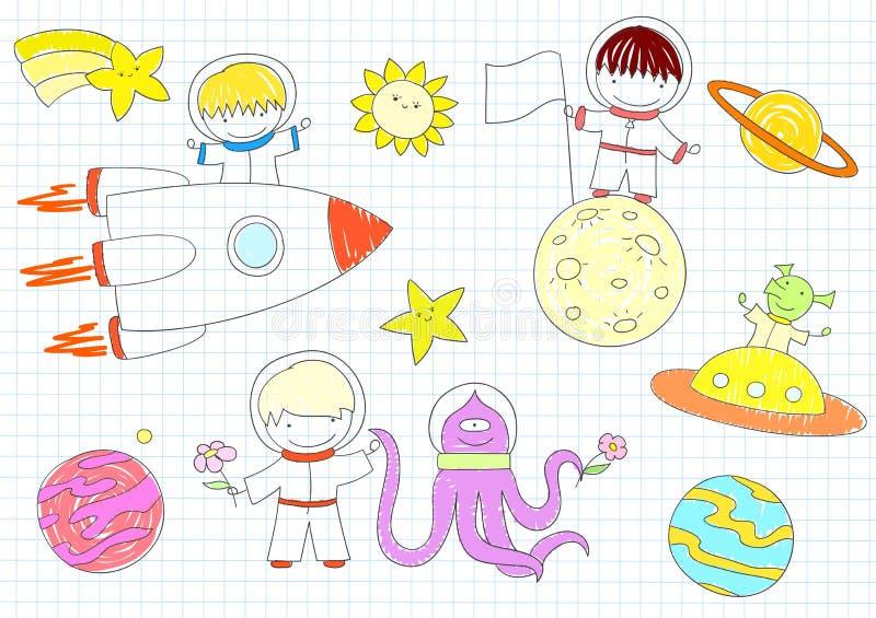 Schizzi di vettore con i ragazzi e gli stranieri felici illustrazione di stock