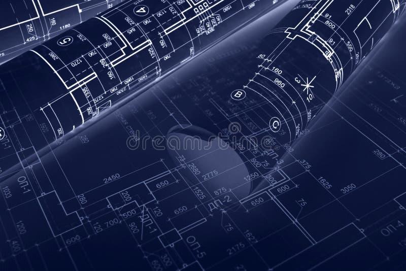 Schizzi e rotoli architettonici del modello per costruzione concentrata fotografia stock libera da diritti