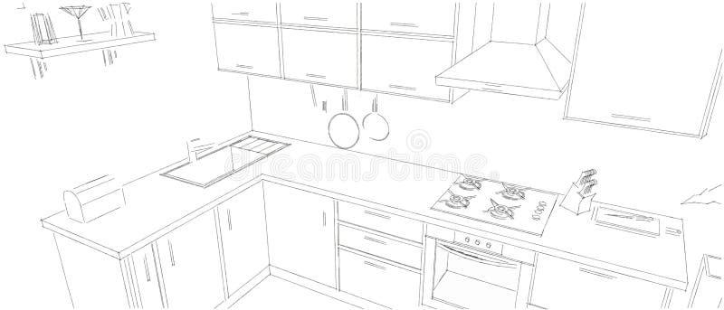 Fabulous Best Download Schizzi Il Disegno Di Profilo Di In Bianco E Nero  Interno Della Cucina Du With Disegni Di Cucine Ad Angolo With Disegni Di  Cucine Ad ...