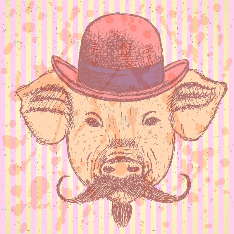 Schizzi il maiale in cappello con mustche, ackground di vettore royalty illustrazione gratis